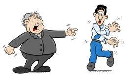 O chefe grita em um empregado ilustração royalty free