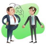 O chefe ou o gerente perguntam a um empregado subordinado Imagem de Stock