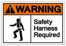 O chicote de fios de seguran?a de advert?ncia exigiu o sinal do s?mbolo, ilustra??o do vetor, isolado na etiqueta branca do fundo ilustração royalty free