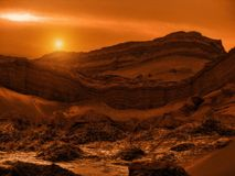 O Chile, pores do sol sobre Valle de Muerte fotografia de stock royalty free