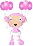 O chimpanzé do bebê balloons a cor-de-rosa Imagem de Stock