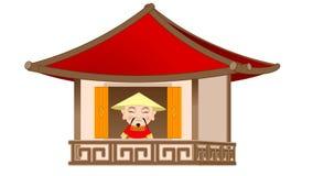 O chinês abre a janela video estoque