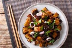 O chinês Yu Xiang Eggplant fritou no molho de soja com gengibre, alho imagens de stock royalty free