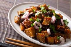 O chinês Yu Xiang Eggplant fritou no molho de soja com gengibre, alho imagem de stock royalty free