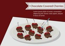 O chocolate cobriu cerejas ilustração royalty free