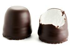 O chocolate cobriu marshmallows Fotografia de Stock