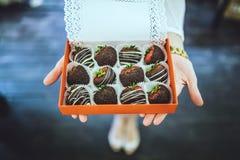 O chocolate cobriu morangos Imagem de Stock Royalty Free