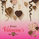 O chocolate do dia e do coração de Valentim Party no fundo colorido Partido do dia de Valentim do vetor Imagem de Stock