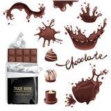 O chocolate espirra o grupo Fotografia de Stock Royalty Free