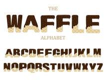 O chocolate geado polvilha a sobremesa doce do alfabeto das letras do waffle para o illustratio do vetor do sumário da coleção do ilustração stock