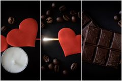 O chocolate, os feijões de café, uma vela e os corações vermelhos encontram-se em um fundo de madeira preto retroiluminado imagem imagens de stock royalty free