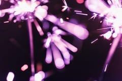 O chuveirinho lilás de bengal ilumina-se em um fundo preto em honra das celebrações do ano novo e do aniversário do Natal Fotos de Stock Royalty Free