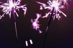 O chuveirinho lilás de bengal ilumina-se em um fundo preto em honra das celebrações do ano novo e do aniversário do Natal Imagem de Stock