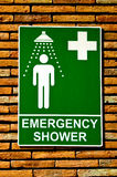 O chuveiro da segurança da emergência do sinal Imagens de Stock Royalty Free