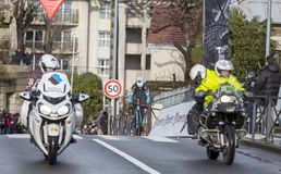 O ciclista Alexis Vuillermoz - 2018 Paris-agradável Foto de Stock Royalty Free