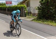 O ciclista Bakhtiyar Kozhatayev - Critério du Dauphine 2017 Imagens de Stock