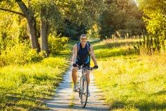 O ciclista do homem monta trajetos de floresta Imagem de Stock Royalty Free