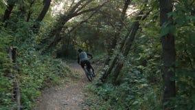 O ciclista extremo monta no trajeto de floresta, movimento lento video estoque