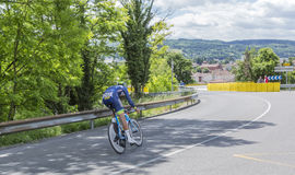 O ciclista Guillaume Van Keirsbulck - Critério du Dauphine 201 Foto de Stock