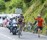 O ciclista Mateo Trentin Imagens de Stock