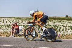 O ciclista Mikel Astarloza Chaurreau Fotos de Stock Royalty Free