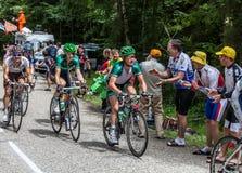 O ciclista Thomas Voeckler em Coluna du Granier Fotos de Stock Royalty Free