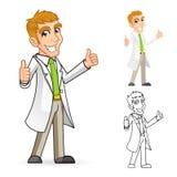 O cientista Cartoon Character com polegares levanta os braços Foto de Stock Royalty Free