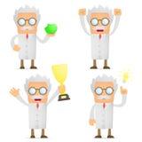 O cientista engraçado dos desenhos animados comemora a vitória Imagens de Stock