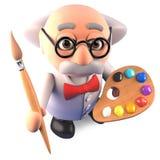 O cientista louco é igualmente um grande artista com seus pincel e paleta, ilustração 3d