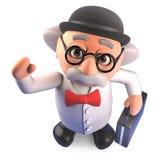 O cientista louco põe sobre seus chapéu e pasta de jogador para fazer o negócio, ilustração 3d