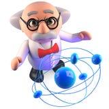 O cientista louco tem estudado este átomo por anos e ainda não o compreende, ilustração 3d