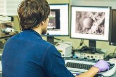 O cientista trabalha em um painel de controle do microscópio de elétron com dois fotos de stock royalty free