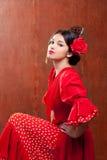 O cigano da mulher de Spain do dançarino do Flamenco com vermelho levantou-se foto de stock