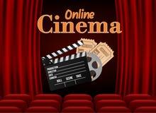 O cinema com fileira do vermelho assenta a pipoca e os bilhetes Molde do evento da premier Filme em linha da arte do cinema No pr ilustração do vetor