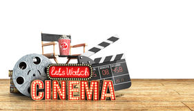 O cinema teve a nave clara do conceito deixa o cinema 3d do relógio render a madeira f Foto de Stock Royalty Free