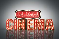 O cinema teve a nave clara do conceito deixa o cinema 3d do relógio render no gre Fotos de Stock Royalty Free