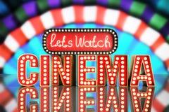 O cinema teve a nave clara do conceito deixa o cinema 3d do relógio render no gre Fotografia de Stock
