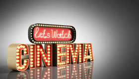 O cinema teve a nave clara do conceito deixa o cinema 3d do relógio render no gre Imagens de Stock