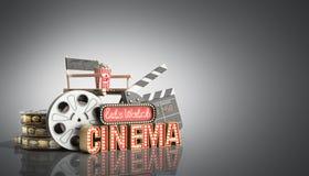 O cinema teve a nave clara do conceito deixa o cinema 3d do relógio render no gre Foto de Stock Royalty Free