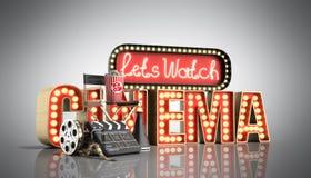 O cinema teve a nave clara do conceito deixa o cinema 3d do relógio render no gre Imagem de Stock Royalty Free