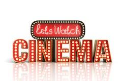 O cinema teve a nave clara do conceito deixa o cinema 3d do relógio render no whi Fotografia de Stock Royalty Free