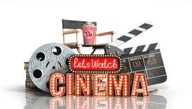 O cinema teve a nave clara do conceito deixa o cinema 3d do relógio render no whi Imagens de Stock