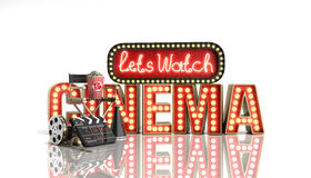 O cinema teve a nave clara do conceito deixa o cinema 3d do relógio render no whi Foto de Stock Royalty Free