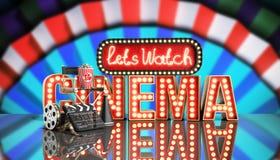 O cinema teve a nave clara do conceito deixa o cinema 3d do relógio render no whi Imagens de Stock Royalty Free