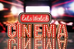 O cinema teve a nave clara do conceito deixa o cinema 3d do relógio render o backg Foto de Stock Royalty Free
