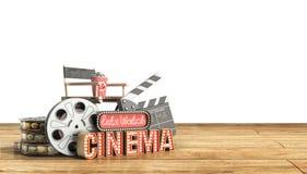 O cinema teve a nave clara do conceito deixa o cinema 3d do relógio render o cinema Fotografia de Stock Royalty Free