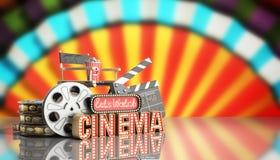 O cinema teve a nave clara do conceito deixa o cinema 3d do relógio render o cinema Foto de Stock Royalty Free