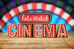 O cinema teve a nave clara do conceito deixa o cinema 3d do relógio render sobre corteja Fotos de Stock Royalty Free