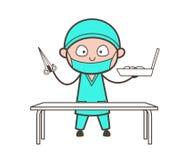 O cirurgião Holding dos desenhos animados tesouras e caixa de ferramentas Vector ilustração stock