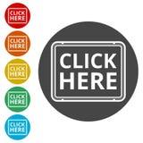 O ` clica aqui o botão do `, clica aqui o ícone, clica aqui o sinal Imagens de Stock